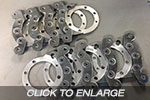 EVO 1-3 Racefab Rear Adaptors To Suit EVO 5-9 Brembo Calipers and Rotors